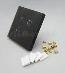 تصویر سه بعدی کلید هوشمند EU چهار پل مشکی S904-A2P4