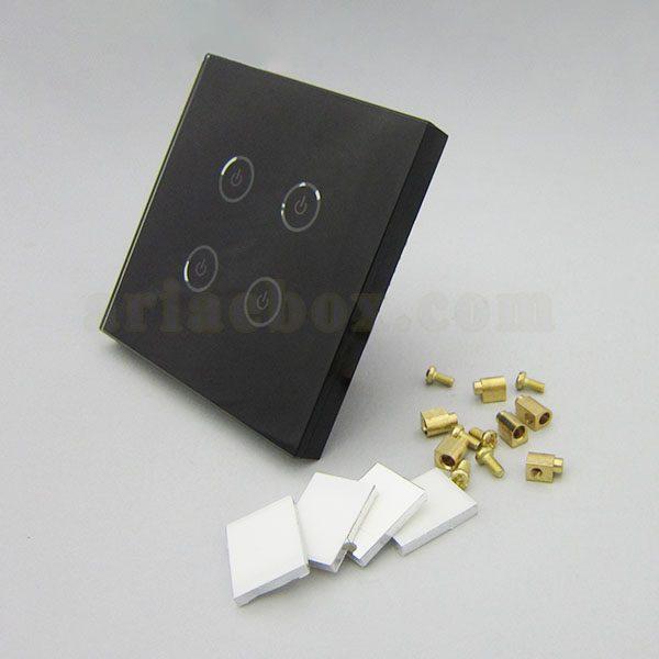 نمای سه بعدی کلید هوشمند UK چهار پل مشکی S901-A2P4