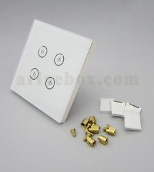 تصویر سه بعدی کلید هوشمند EU چهارپل سفید گرد S908-A1P4