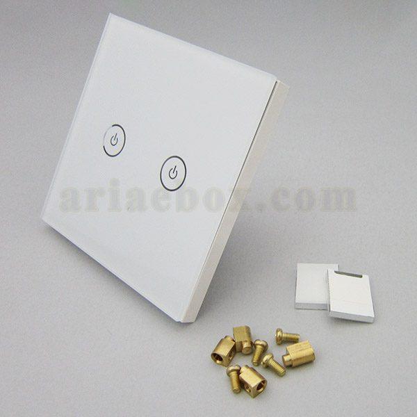 تصویر سه بعدی کلید هوشمند EU دو پل سفید S904-A1P2
