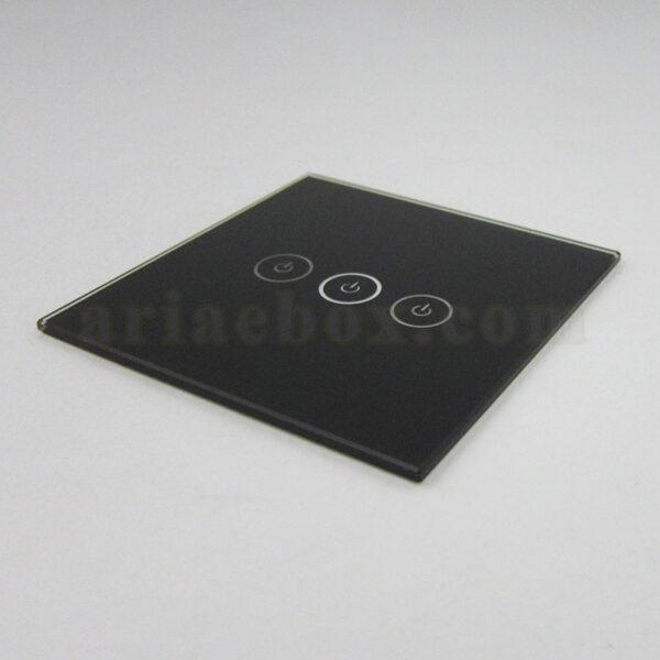 نمای سه بعدی شیشه سه پل مشکی کلید هوشمند GL3-A2P3