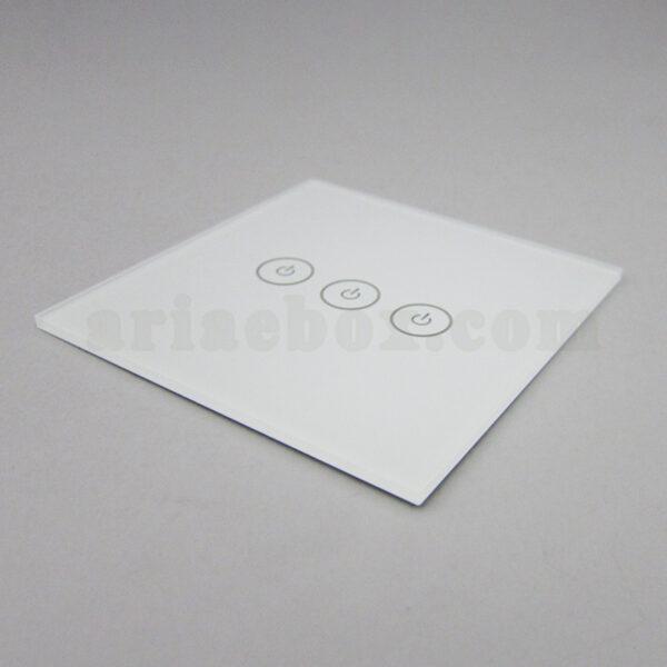نمای سه بعدی شیشه سه پل سفید کلید هوشمند GL3-A1P3