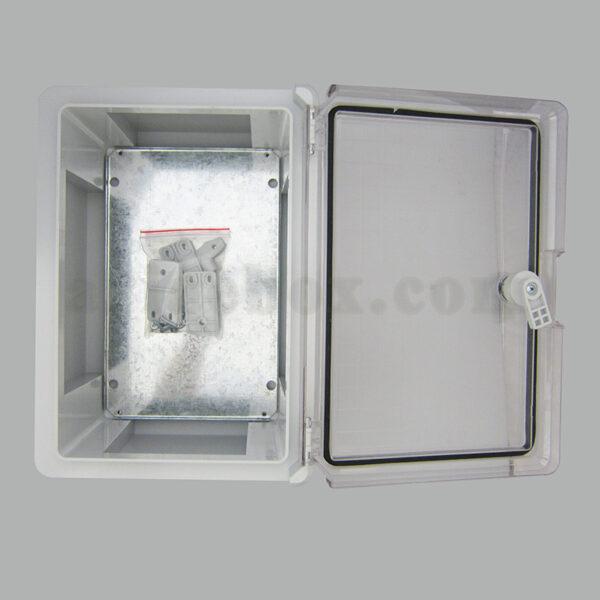 نمای داخلی جعبه ضدآب تابلویی قفل دار شفاف TW702-A1T