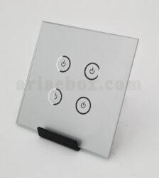 شیشه چهار پل نقره ای کلید هوشمند GL2-SP4 با ابعاد 2×86×86